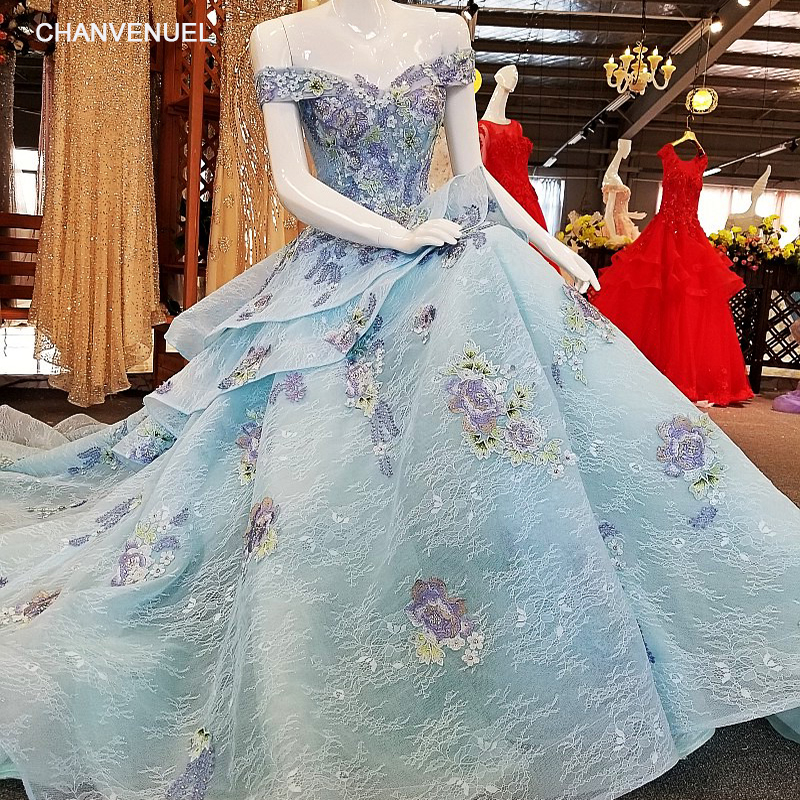 LS00344 Blue evening dress long sweetheart ball gown corset back off the shoulder abendkleider prom dresses