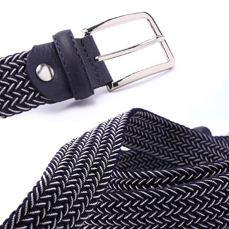 Mixed Color lastic Stretch Belt Braided Knitted Stretch Belts Elastic Belt Men Woven EWith Covered Buckle1-3/8 Wide High Qualit