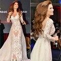 Arábia saudita Sexy Sereia Celebridade Vestidos V Neck Manga Comprida Vestidos de Noite com Trem Destacável do Oriente Médio Vestido Carprt Vermelho