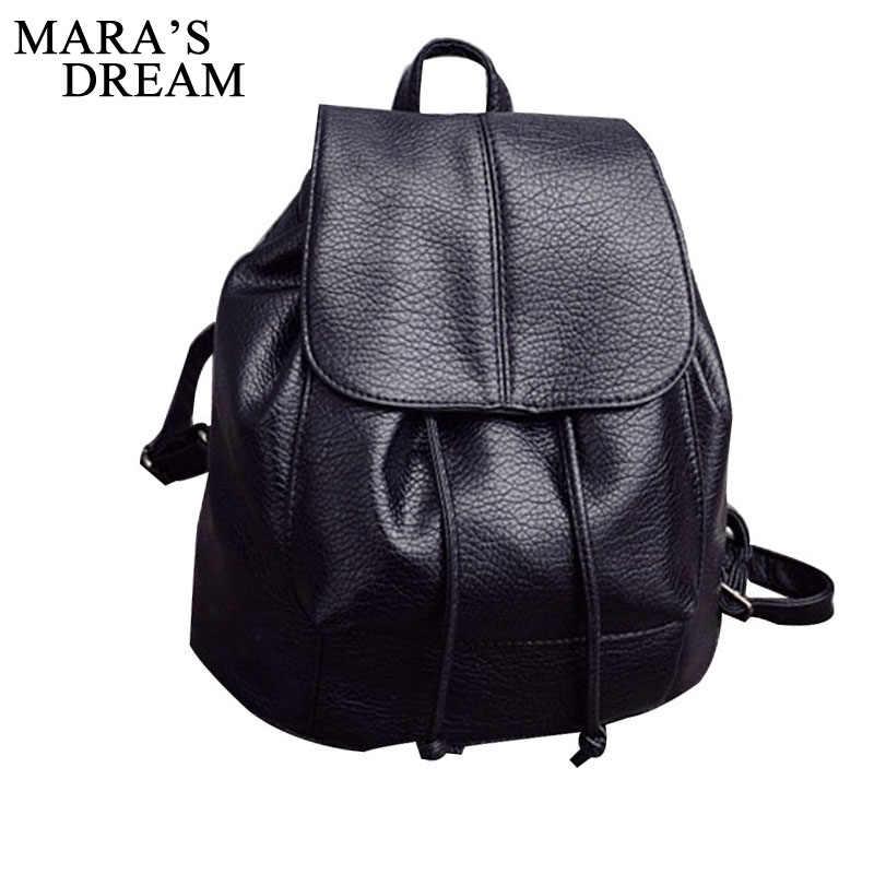 f64b9687a9d1 Mara s Dream New Travel Backpack Women Female Rucksack Leisure Students School  Bag Soft PU Leather Women