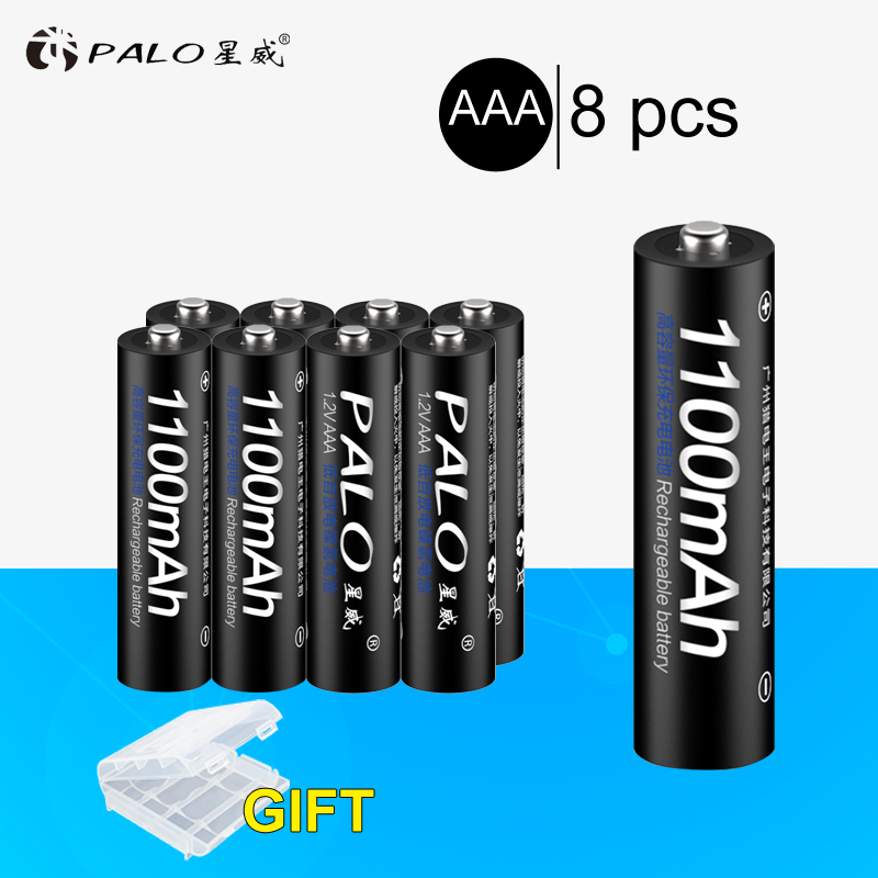 PALO 8pcs Original 3A AAA Rechargeable battery 1100mAh 1.2V AAA NIMH Rechargeable batteries