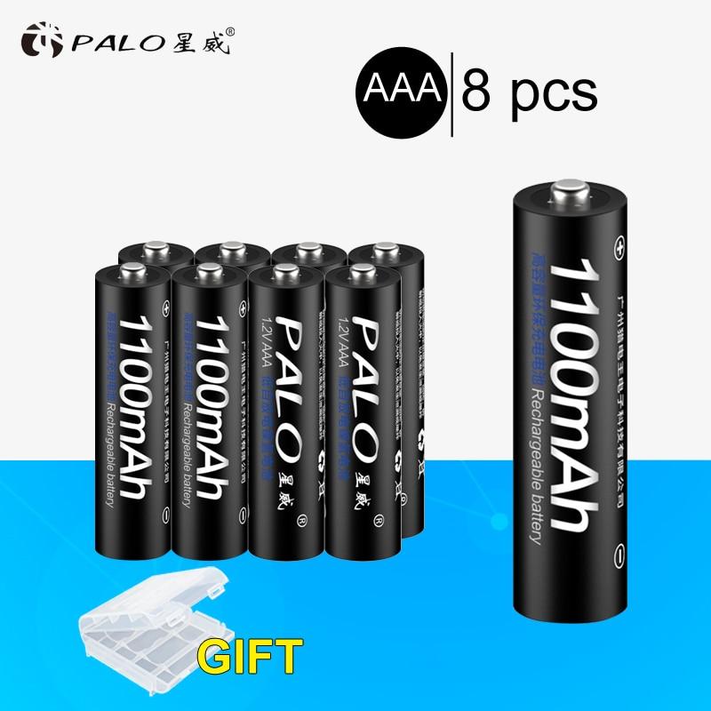 PALO 8pcs Original 3A AAA Rechargeable battery 1100mAh 1.2V AAA NIMH Rechargeable batteries
