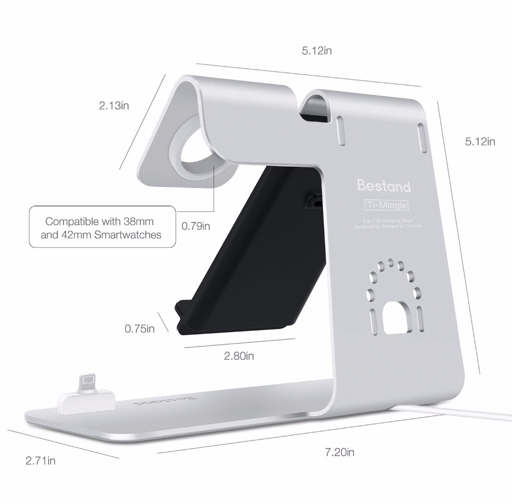 bestand  Bestand [3 in 1] Aluminum iWatch Stand, Airpods Charging Station, Qi ...