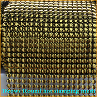 Free Shipping 5yard Lot 18rows Round Hot Stamping Plastic Rhinestones Mesh Trimming Sewing Trim Wedding Dress