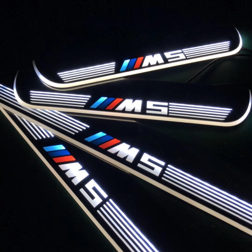 RQXR led moving door scuff for bmw e60 m5 dynamic door sill plate flat lining overlay