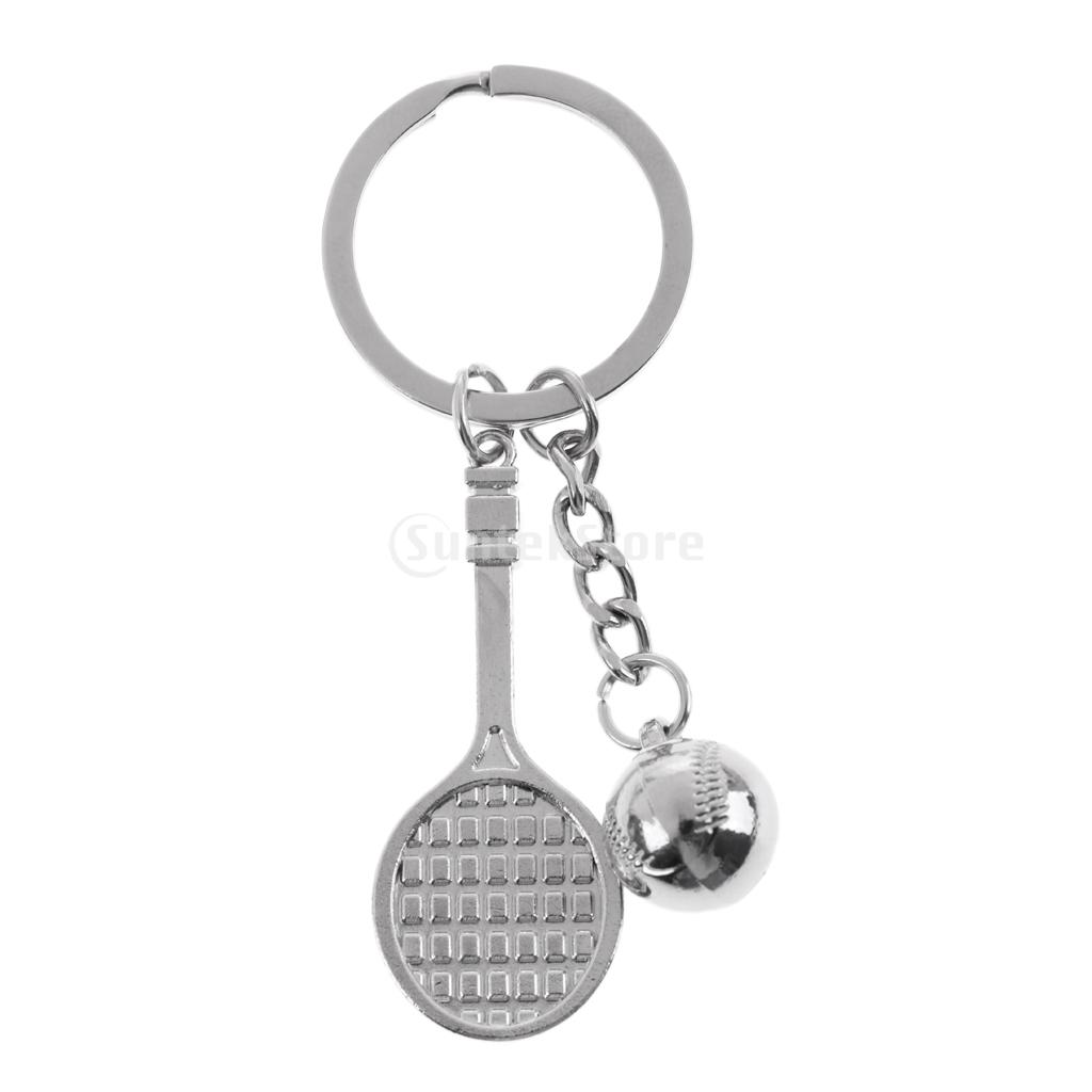 Sturdy Alloy Tennis Racket Tennis Ball Style Keyring Keychain Bag Decoration Gifts
