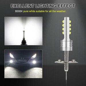 Image 3 - 2 pçs h1 h3 lâmpada led super brilhante 12 3535smd luzes de nevoeiro do carro 12v 24v 6000k branco dia condução correndo lâmpada automóvel