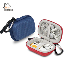 Snailhouse Portable Mini Square Hard Storage Case Bag With Hook For Earphone Headphone Cables SD TF Cards Digital Storage Box