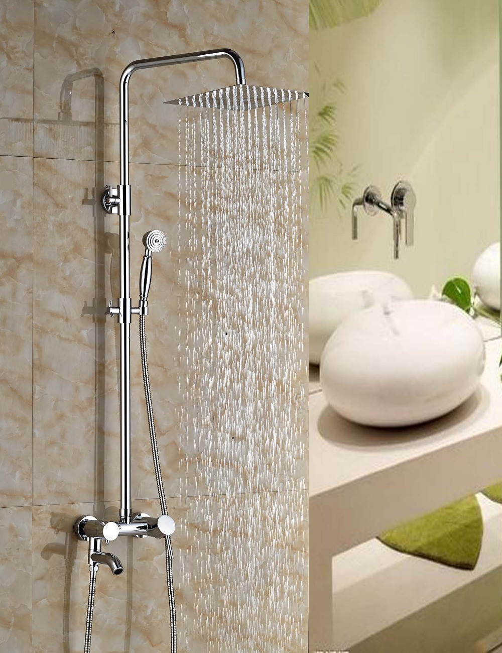 Wholesale And Retail Modern Square Ultrathin Bathroom Rain Shower Head Shower Mixer Tap Swivel Spout Tub Mixer Tap / Hand Shower hot sale wholesale and retail promotion new modern brushed nickel 12 rain shower head ultrathin shower head replacement