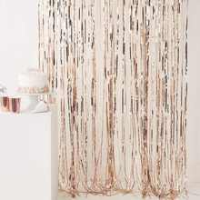 92*245cm Rose Gold Metallic Foil Tinsel Fringe Curtain Birthday Party Decoration Wedding Photography Backdrop Curtain Photo Prop(China)