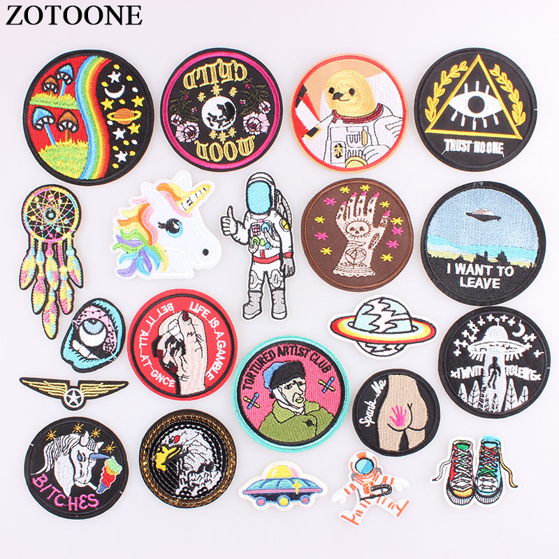 Zotoone 1ps Ufo Astral Planet Parches Embroidered Iron On Patches For Clothing Diy Stripes Clothes Alien Sticker Space Appliques