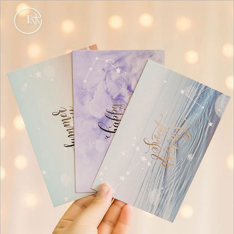 30 Pcs/box Cute Dream planet greeting card blessing message cards birthday  postcard gift