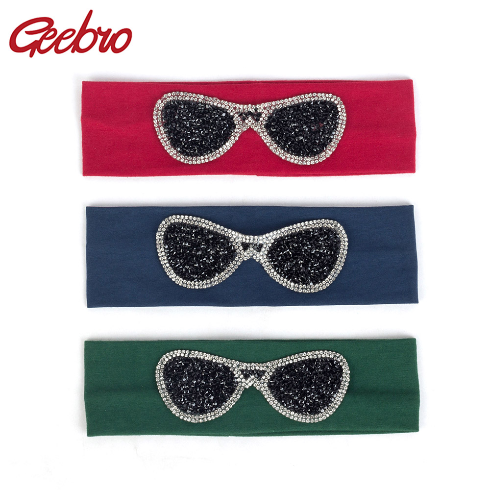 Geebro 2019 Baby Boys Girls Rhinestone Headbands Glasses Fashion Solid Cotton Childs Kids Hair Accessories Elastic Hairband