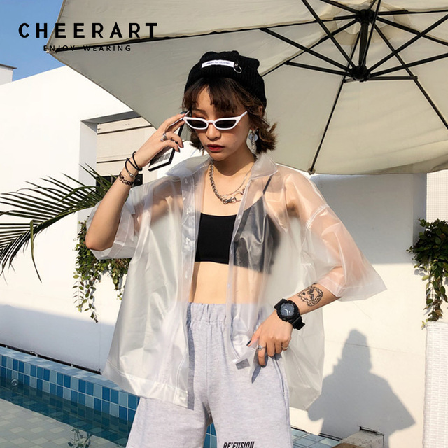 Cheerart Rain-Proof Streetwear Transparent Shirt Women Summer Cardigan See Through Tops And Blouses PVC Loose Top Femme 2018