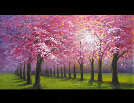 Large 24x48in Abstract Modern Canvas Wall Art Vintage Handmade Pink Cherry Blossom Tree Oil Painting On