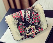 Serpentine hit color buckle shoulder oblique cross bag, spring and summer fashion new mini bag,women girls lady cute bags