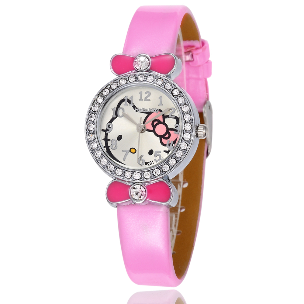 Lovely Pink Children Watch Kids Rhinestone Quartz Watches Cute Students Girls Casual Leather Clock Montre Fille 2019