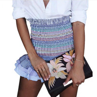High waist ruffles Short skirt female dressings elastic strip Chic Chic pencil female Casual piquant mini skirt