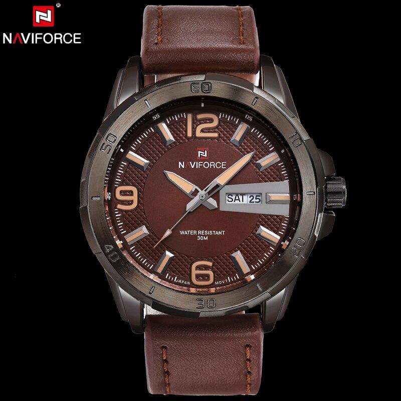 Naviforce оригинальный Элитный бренд Военная Кварцевые часы мужские часы Авто Дата Неделя водонепроницаемый кожа наручные Relogio Masculino