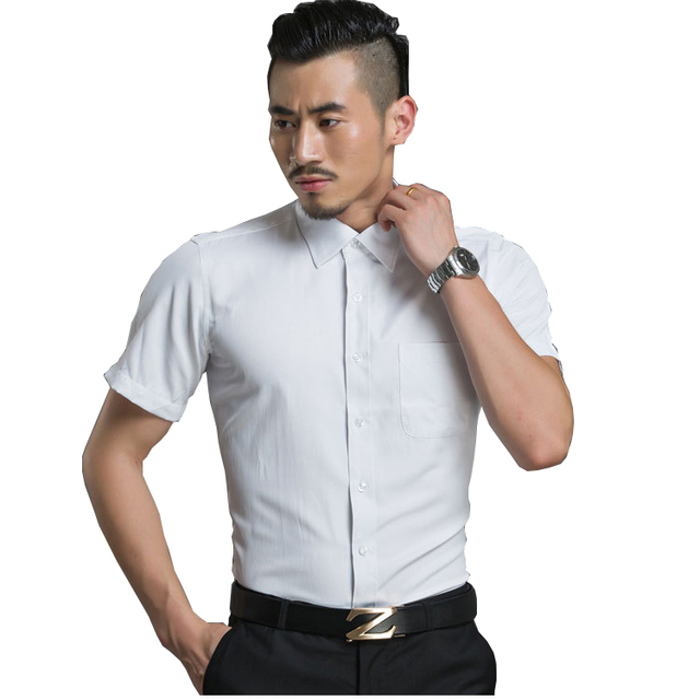 12aa46bf35 Plus Size M-4XL Men s Fashion Clothing Twill White Light Blue Pink Dress  Shirts Short Sleeves Business Casual Formal Shirt Slim