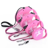Pet Product Dog Harness Stripe Retractable Belt Pink Charms Mascotas Leads Puppy Fabric Clip Rope Leashes