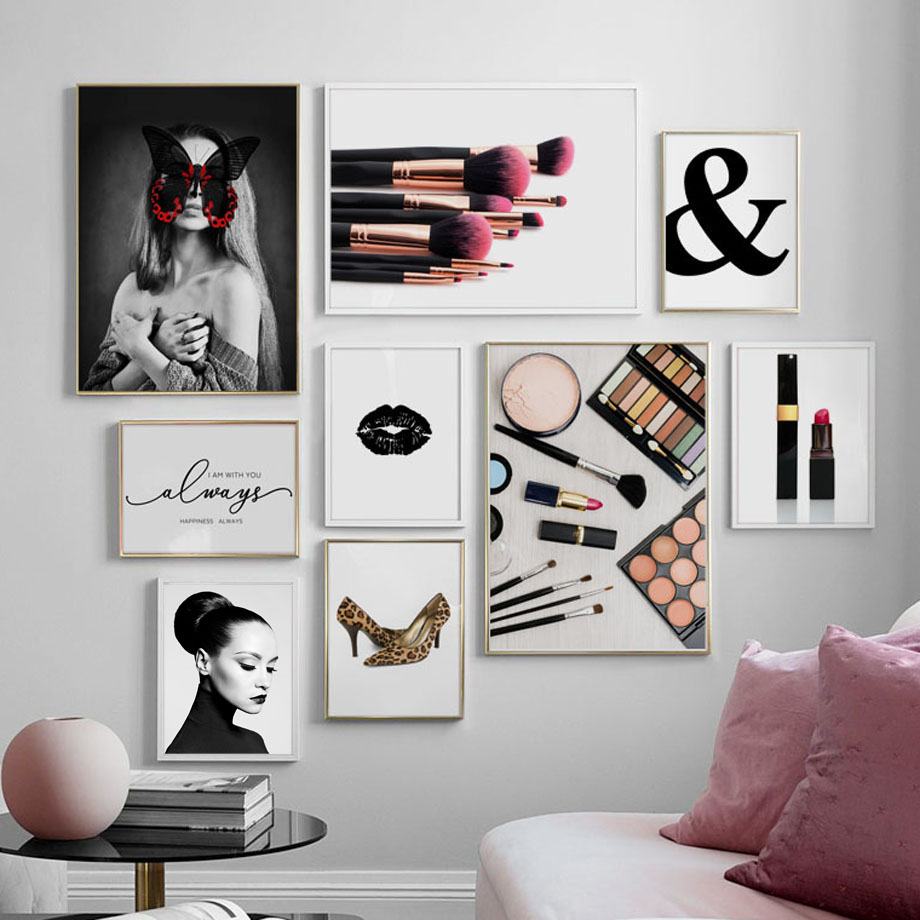 Ampersand Fashion Girl Butterfly Makeup Wall Art Canvas Painting Nordic Posters And Prints Wall Pictures For Living Room Decor