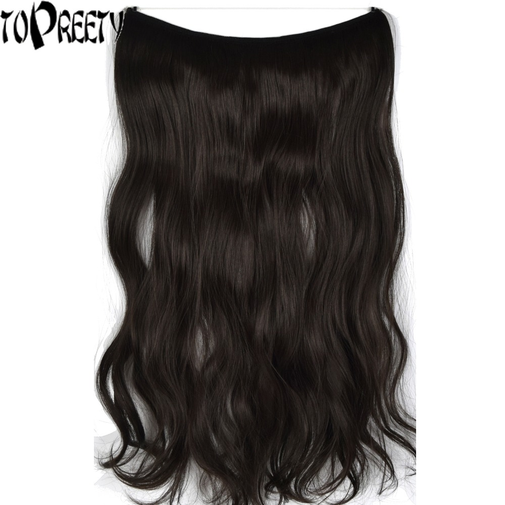 TOPREETY Heat Resistant B5 Synthetic 22 55cm 100gr Wavy Elasticity Wire Halo Hair Extensions 30 Colors Available