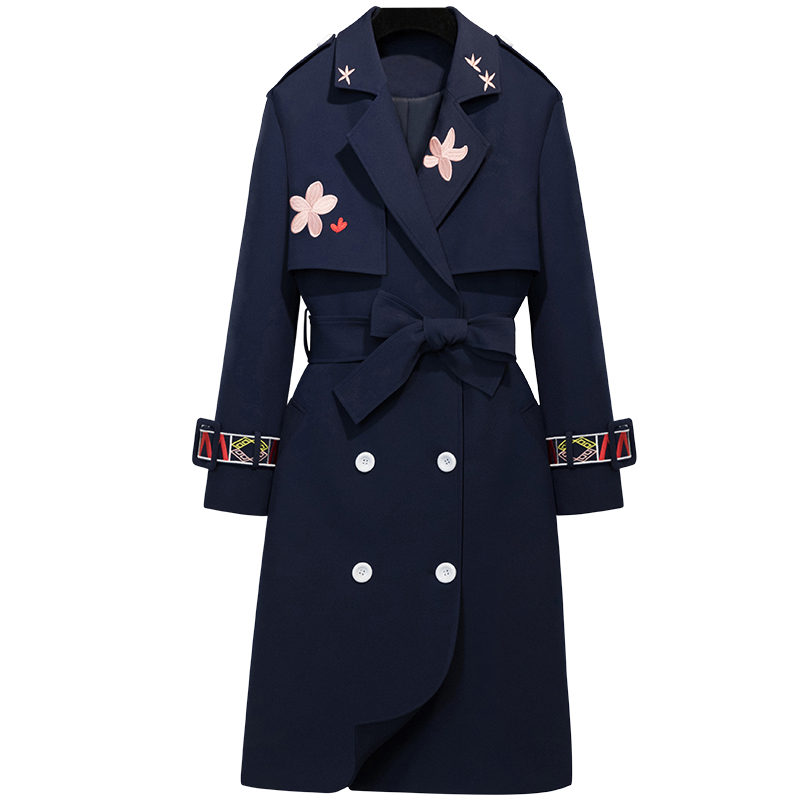 Spring Autumn New fashion Long Trench coat women Double Breasted Embroidery Slim turn down collar windbreaker