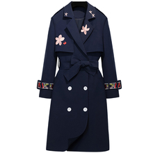 Spring Autumn New fashion Long Trench coat women Double Breasted Embroidery Slim
