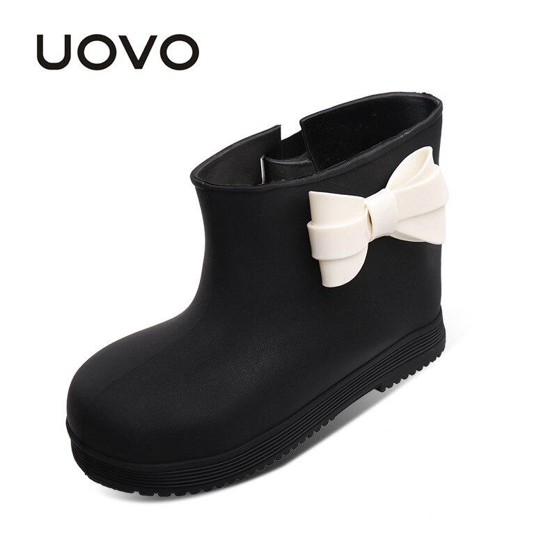 UOVO 2017 nouvelles bottes de pluie pour petites filles noeud papillon belles chaussures de pluie bébé enfants gelée doux imperméable chaussures infantile enfants en bas âge