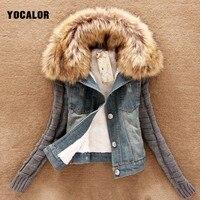 YOCALOR Long Sleeve Winter Faux Raccoon Fur Collar Coat Jeans Jacket For Women Warming Woman Lined