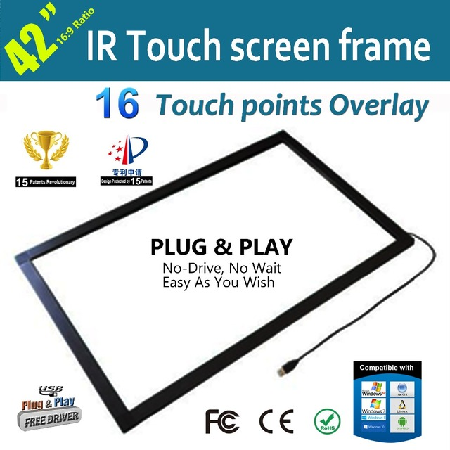 Free Shipping  Within 48 Hours Delivery 42 Inch Multi touch IR Touch Overlay Frame Panel 16 Touch Points