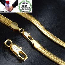 OMHXZJ cadena serpiente plana de oro de 9MM para mujer, collar de cadena de oro de 18kt NC149