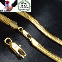 OMHXZJ toptan kişilik moda OL kadın kız parti düğün hediye altın 9MM düz yılan zincir 18KT altın zincir kolye NC149