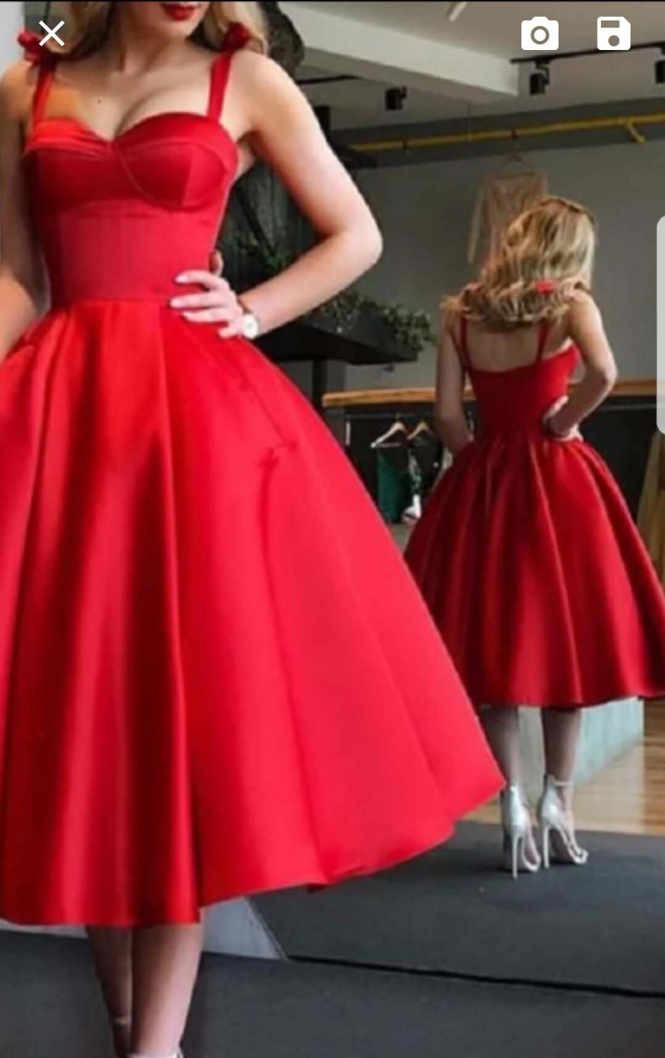 New Arrival 2019 Sexy Red   Cocktail     Dresses   Custom made A Line Spaghetti Straps Tea Length Formal Prom   Cocktail   Party Gown