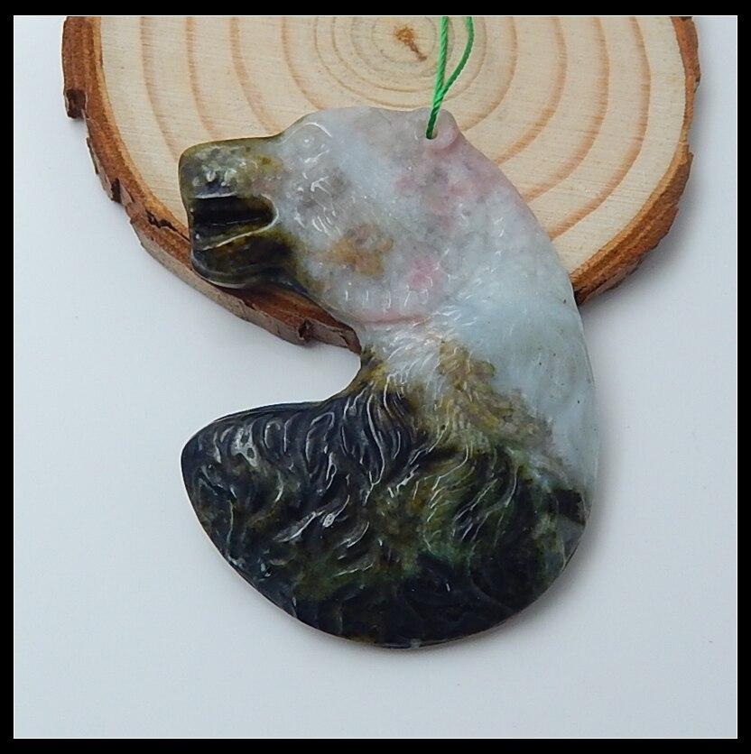 Sale 1Pcs Natural Stone Pink Tourmaline Carved Bear Fashion DIY Jewelry Making Pendant Accessories 54x41x7mm 26g