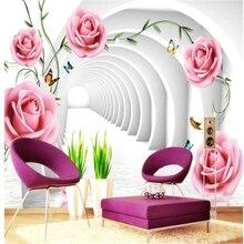 beibehang wallpaper 3d aesthetic green rattan rose mural
