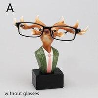 Kreatywne Projektowanie Żywica Rzemiosło Jelenie Ozdoba Królik Zwierząt Kształt Okulary Uchwyt Wyposażenie Domu Salon Biura Dekoracji