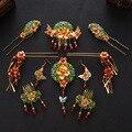 Китайский Стиль Свадебные Украшения Устанавливает Свадебный Головной Убор Корона Красный Кристалл Аксессуары Для Волос Позолоченные Перегородчатой Шпильки Серьги