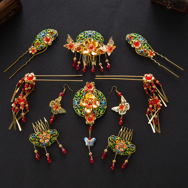 Chinese Style Wedding Jewelry Sets Bridal Headwear Coronet Red Crystal Hair Accessories Gold Plated Cloisonne Hairpins Earrings