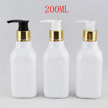 200ML White Square Plastic Bottle With Gold Lotion Pump , 200CC Makeup Sub-bottling , Lotion / Shampoo Packaging Bottle
