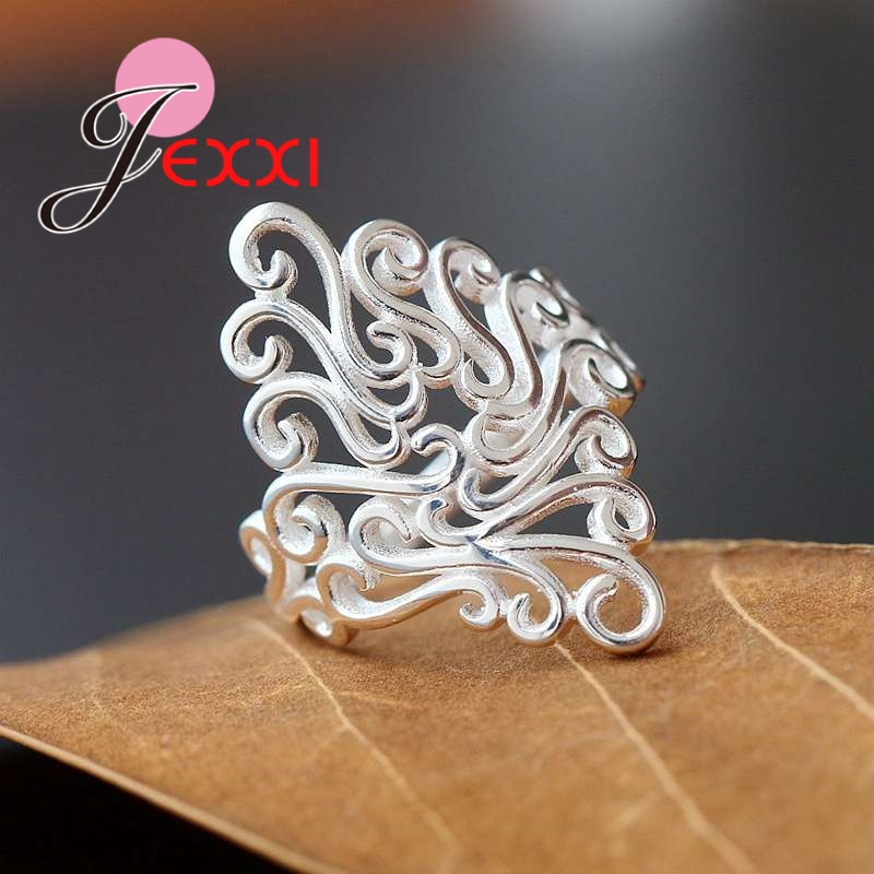 Personality Shape Design Rings For Lovely Women Female Pretty Good Gifts Real 925 Pure Sterling Silver Shiny Rhinestone