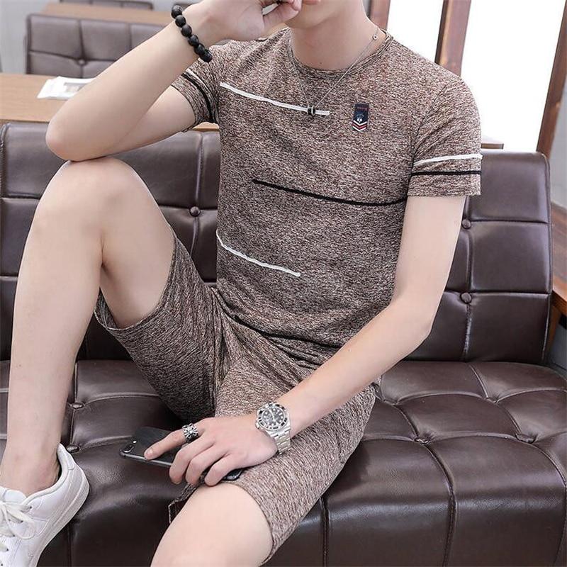Suit Pajama-Set Shorts Sleepwear Male Summer Elastic-Waist Casual Fitness Loose Men