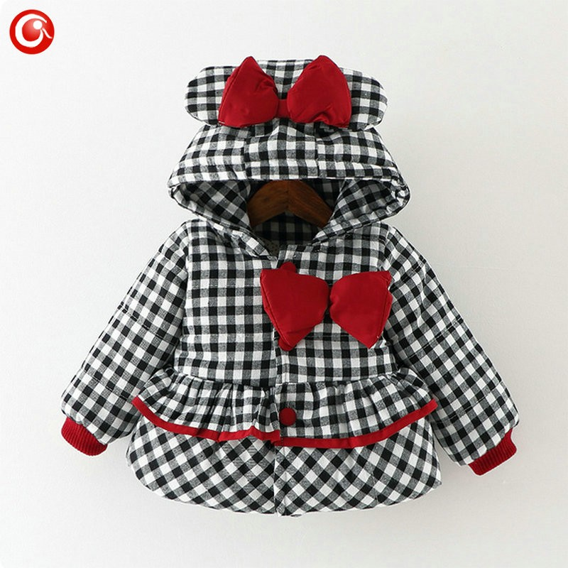 Baby Girls Winter Bow Coats Kids Hoodies Plaid Warm Snowear Clothes Infant Girl Princess Jackets&Parkas Clothing 2016 (7)
