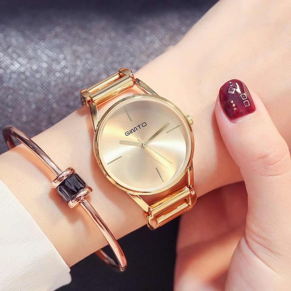 GIMTO Creative Women Watches Bracelet Steel Hollow Quartz Ladies Watch Brand Luxury Female Waterproof Clock relogio feminino