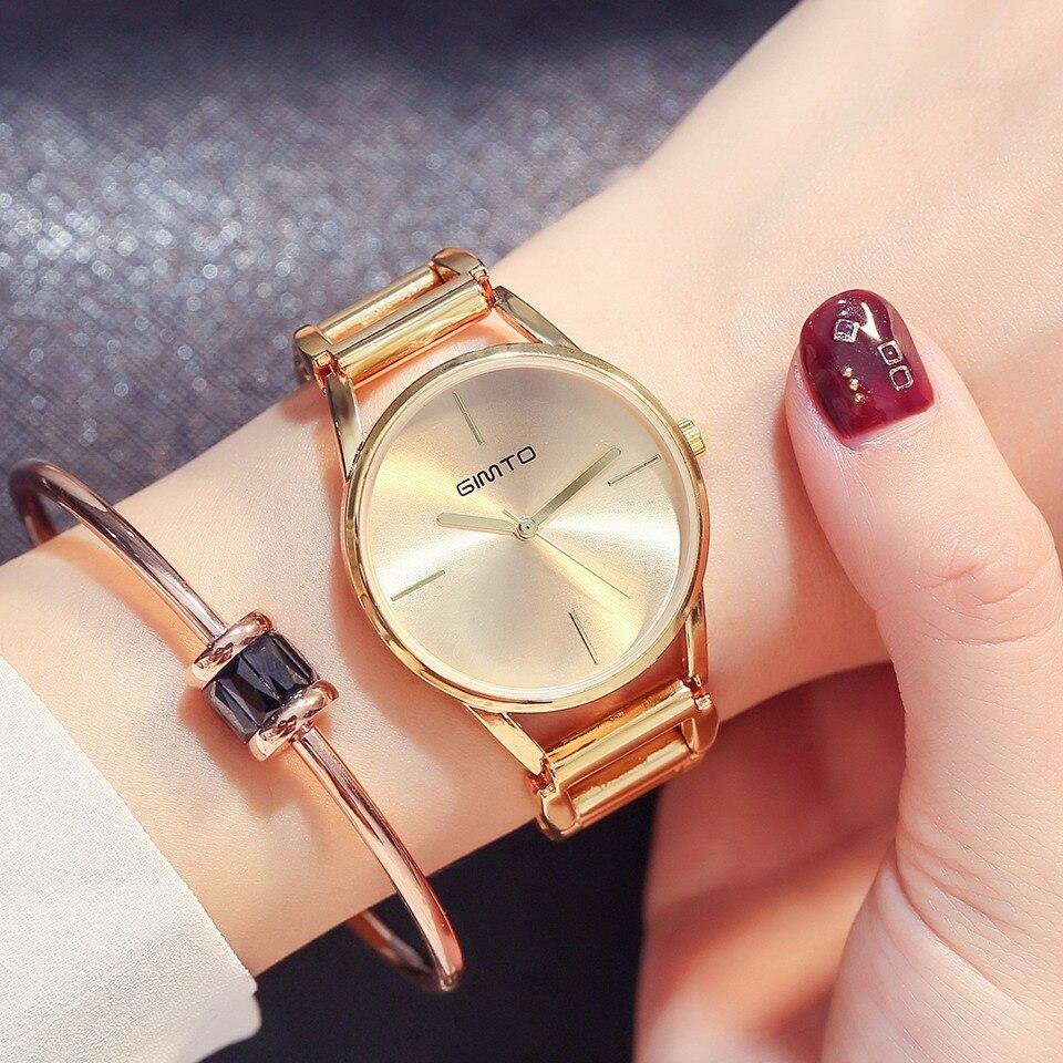 GIMTO Creative Women Watches Bracelet Steel Hollow Quartz Ladies Watch Brand Luxury Female Waterproof Clock relogio feminino