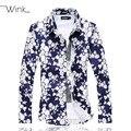 Floral Pattern Men Cotton Dress Shirt Big Size 5XL 6XL Men's Long Sleeve Blouse Slim Fit Chemise Homme Spring Male Clothes E511