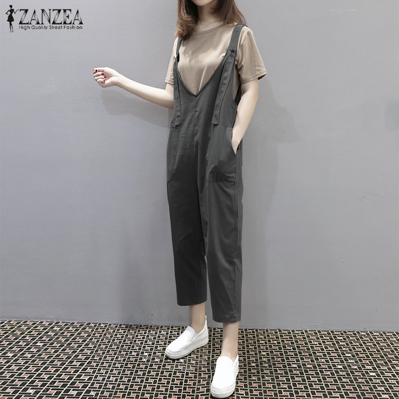 2018 ZANZEA Summer Overalls Women Elegant Solid V Neck Sleeveless Work Rompers Loose Pockets Casual Party Jumpsuits Plus Size