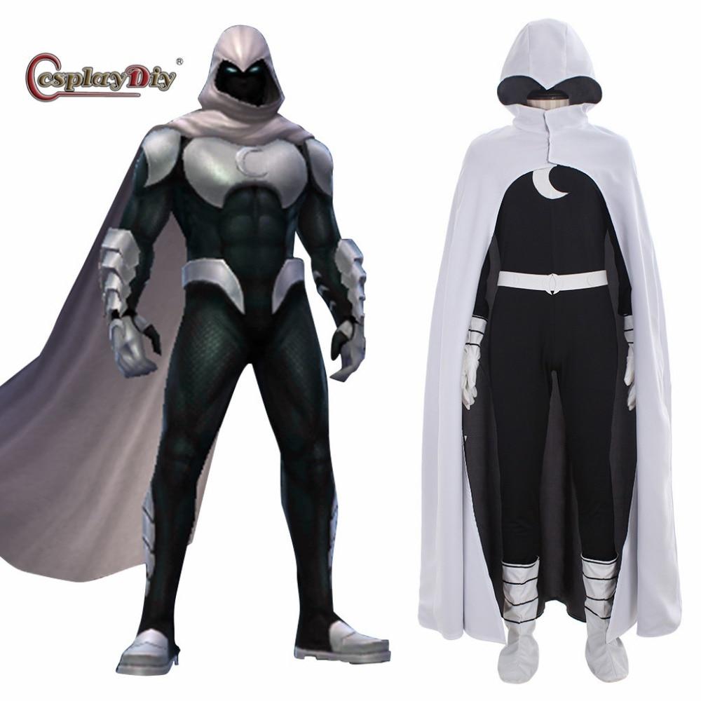 Cosplaydiy Superhero Comics Moon Knight Cosplay Kostuum Volwassen Mannen Halloween Kostuums Jumpsuit Met Hood Cape Custom Made J10