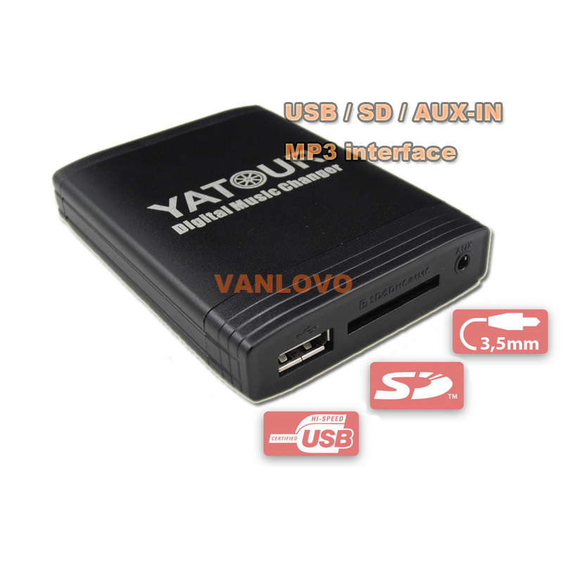 YATOUR Digital Music Changer AUX-IN SD USB MP3 Adapter for Citroen RD3 / RB3 / RM2 Radios car usb sd aux adapter digital music changer mp3 converter for skoda octavia 2007 2011 fits select oem radios